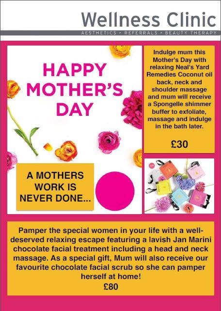 Mothers Day Treatments at the Wellness Clinic Chelmsford Essex